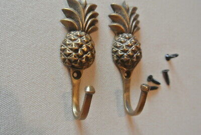 "4 very small PINEAPPLE BRASS HOOK COAT WALL MOUNTED HANG old style hook 3"" 5"