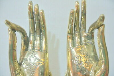 2 exquisite large Buddha Pull handle Finger door polished brass HAND 20cm hook B 3
