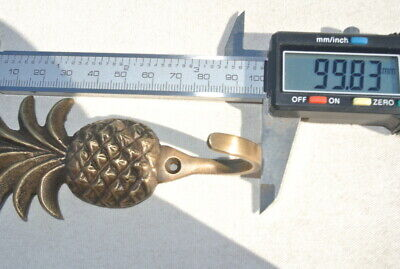 """4 small PINEAPPLE BRASS HOOK COAT WALL MOUNTED HANG TROPICAL old style hook 4"""" B 6"""