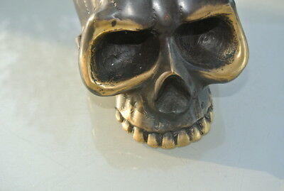 "SKULL head ash tray solid BRASS vintage style collect 6"" new day of the dead B 8"