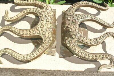 "set OCTOPUS Solid Brass hollow hand antique green Door PULL HANDLE 15"" aged B 2"