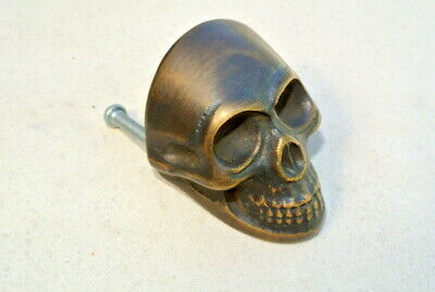 2 small Skull hardware cabinet Drawer 4cm Gothic Finger Pull Solid Brass 1.5/8 B 3