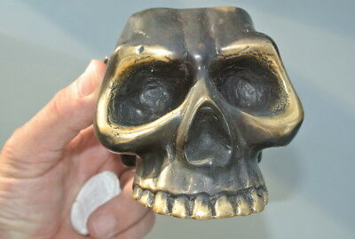 "SKULL head ash tray solid BRASS vintage style collect 6"" new day of the dead B 11"