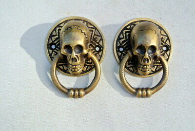 "2 small SKULL head handle DOOR PULL ring natural cast BRASS old style 5 cm 2"" 7"