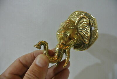 """ELEPHANT trunk up pull SOLID polished BRASS old style Handle hook 4 """" door B 9"""