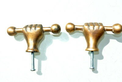 "4 small aged ANTIQUE 2.1/2"" old style fist Cabinet Door solid pure Brass knob 8"