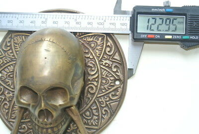 "large round SKULL head ring pull Handle BRASS 4"" day of the dead door KNOCKER B 4"