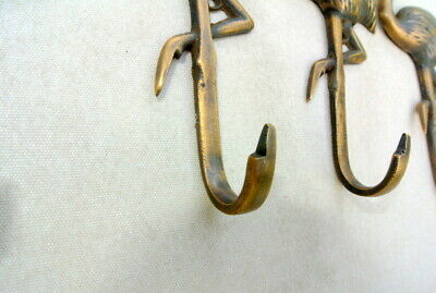 "4 FLAMINGO hooks 5.1/2 "" long aged solid real heavy BRASS old vintage style B 4"