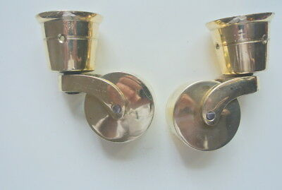 2 big polished CUP solid Brass foot castors wheel chairs tables 9cm high polishB 4