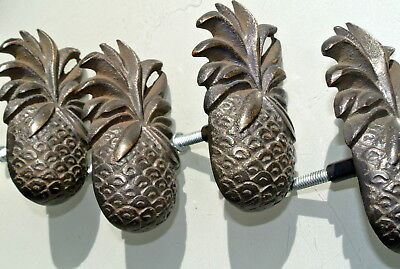 8 small PINEAPPLE solid BRASS knobs TROPICAL VINTAGE old style 75 mm B 5