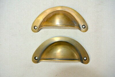 """4 heavy shell shape pulls handle antique solid brass vintage 4"""" vintage style B 6"""