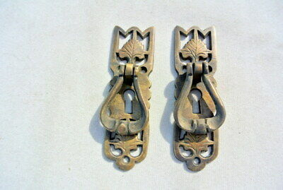 4 small old style pulls BRASS handles aged door old style drops knobs kitchen B 5