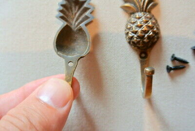 "4 very small PINEAPPLE BRASS HOOK COAT WALL MOUNTED HANG old style hook 3"" B 8"