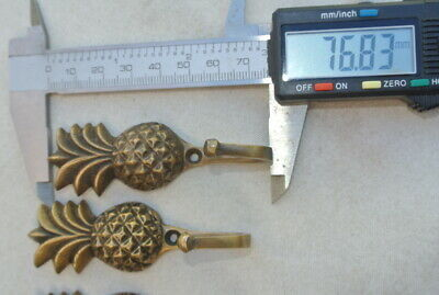 "4 very small PINEAPPLE BRASS HOOK COAT WALL MOUNTED HANG old style hook 3"" 10"