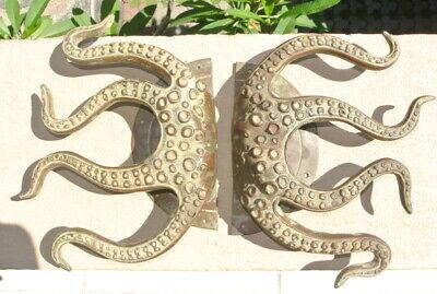 "set OCTOPUS Solid Brass hollow hand antique green Door PULL HANDLE 15"" aged B 11"
