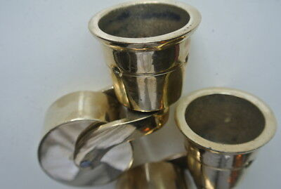 2 big polished CUP solid Brass foot castors wheel chairs tables 9cm high polishB 8