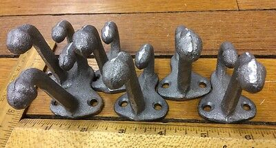 set of 6 COAT HOOKS Cast Iron Rustic Antique Vintage Style Wall Hat Rack School 11