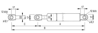 Gasdruckfeder Lift Klappendämpfer 234699 Hub=200 Länge 485 500 N Ø22 mm L205045