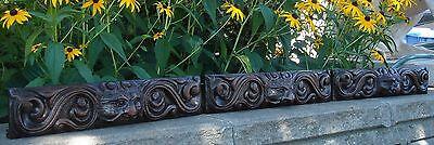 19C English Salvage Set 3 Carved Gothic Oak Griffin/Gargoyle Drawer-Front Panels 3