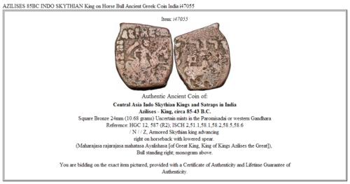 AZILISES 85BC INDO SKYTHIAN King on Horse Bull Ancient Greek Coin India i47055 3