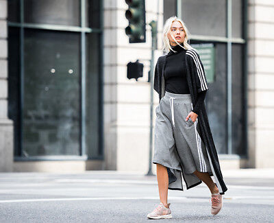 adidas Originals Women 3-Stripe Culottes Shorts Pants Grey XS S M AY6708