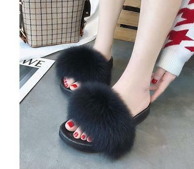 8d23cdd618e4c ... Luxury Large Fluffy Real Fox/Raccoon Fur Women Slippers Shoes Flat  Slides Sandal 4