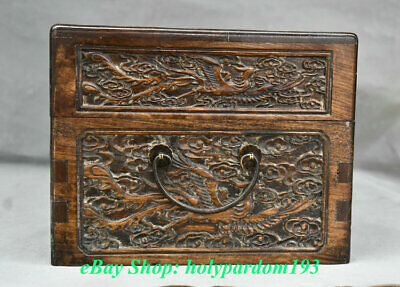 "12"" Old Chinese Huanghuali Wood Carving Palace Dragon Phoenix Jewel Case or Box 7"