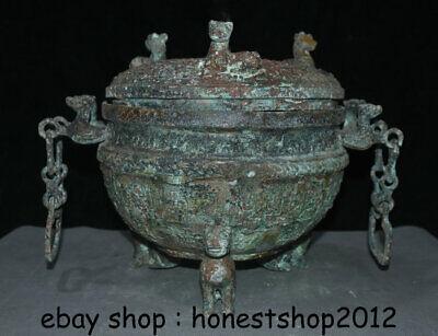 "14 ""Chinesische Dynastie Antik Bronze Ware 3 Tier Griff Kette Pot Jar Crock 4"