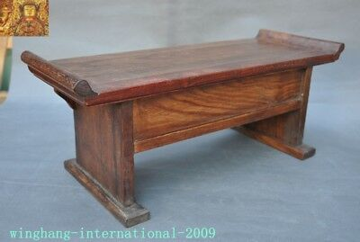 Chinese Huanghuali Old wood carved Phoenix Bird drawer coffee table Desk statue 9