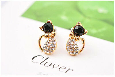 1 Pair Safety Baby Cat Stud Earrings Ear CZ Gold Plated Little Girls Ear Rings