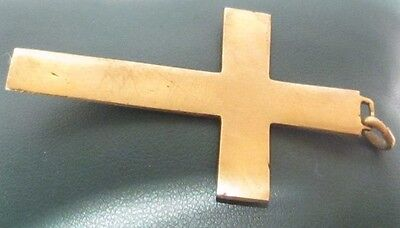 OUTSTANDING VINTAGE BRASS CROSS,ENGRAVING,EARLY 20th. Century !!! # 958 5