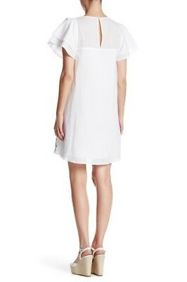 NWT Parker Tiered flutter sleeve Embroidered eyelet cotton white dress size L 3