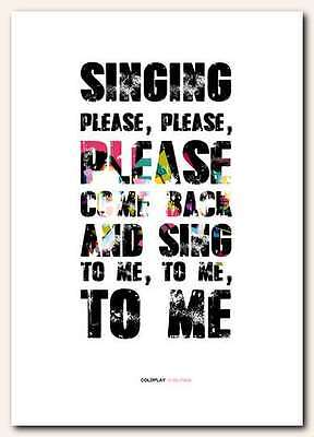 ❤ COLDPLAY ❤ In My Place ❤ song lyrics poster art edition typography print  #12
