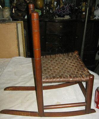 Antique Child Wood Primitive Country Farm Rocking Chair Toy Doll Splint Folk Art 4