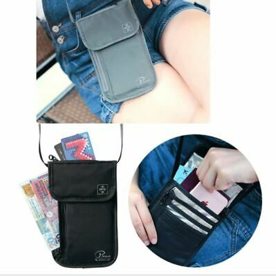 RFID Blocking Neck Stash Passport Card Wallet Holder Pouch Security Travel Bag 4