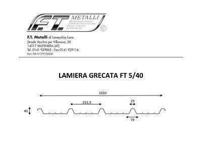 LAMIERA GRECATA COPERTURA 1010 MM Lunghezza 2000 MM Colore Tdm/rs/Bg
