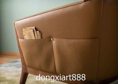 Black walnut solid wood furniture leather dining room coffee house Leisure sofa 5