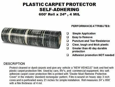 "300' Dealer Must Remove Protective Plastic Adhesive Car/Floor Mats 21""X24"" 4Ml 2"