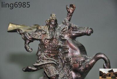 bronze statue RT Exquisite Chinese OLD Hero Guan Gong Guan Yu ride on horse