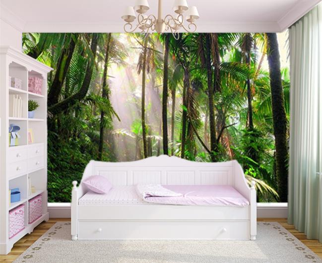 3D SUNSHINE JUNGLE Forest Landscape Living Room Wallpaper ...