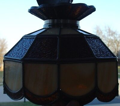 Vintage Stained Leaded Slag Glass PARLOR Lamp Amber & Opal Color Tiffany Style 7