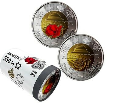 1918-2018 100th Anniversary Armistice Toonie $2 Color Coin SpecialWrap Mint Roll