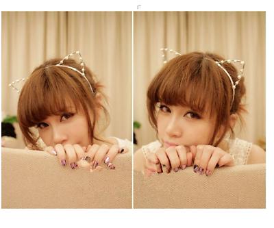 Cute bunny ear hairband headband with pearl silver gold fab  party Halloween