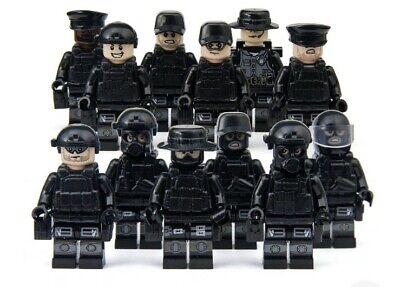12 Custom Minifigure SWAT Minifigures plus Boat Army Military Minifigs