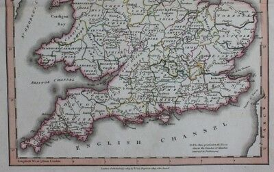 Original antique map SOUTH BRITAIN, ENGLAND, WALES, John Cary, 1809 4