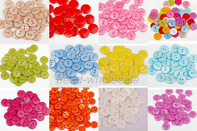100pcs Lots mix Assort Plastic Buttons Scrapbooking Sewing Craft Appliques 15mm 4