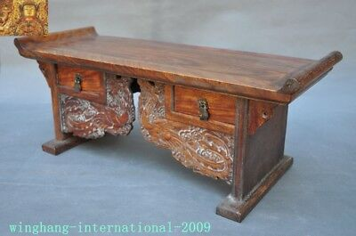 Chinese Huanghuali Old wood carved Phoenix Bird drawer coffee table Desk statue 7