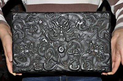 Old Chinese dynasty palace black Rosewood wood Carved Dragon Jewelry Storage box 4