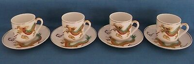 Vintage Japanese Satsuma Dragon Gold Porcelain Coffee Set Lithopane Geisha Girl 5