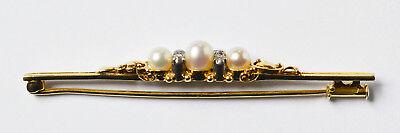 Brosche 14 Karat 585 Gold 4,77g Gelbgold Weißgold 3 Perlen 4 Diamanten 1920/1930
